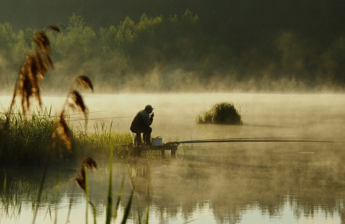 ловля карася утром