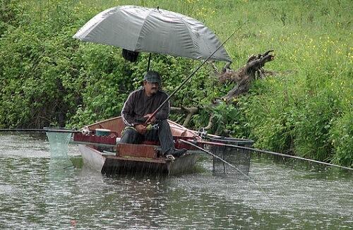 рыбак под дождем